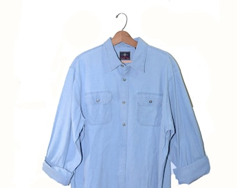 Vintage Denim Shirt Men's Denim Shirt Button Down Shirt Long Sleeve Shirt Size XL