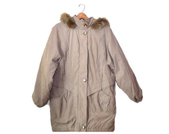 Vintage Parka Coat Parka Jacket Beige Winter Coat Womens Parka Jacket Beige Winter Coat Winter Jacket