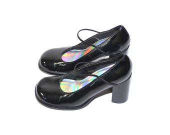 9d5c7c63d43 Vintage Gothic Lolita Sweet Lolita Cosplay Mary Janes Black Mary Jane Shoes  Black Block Heel Shoes Black Chunky Heel Shoes 90 s Shoes