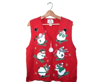 3bb033c33a8 Ugly Christmas Sweater Vest Ugly Christmas Snowmen Sweater Snowman Vest Ugly  Snowmen Christmas Vest