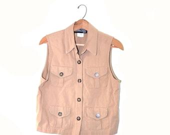 Vintage Peach Shirt Peach Cargo Vest Womens Peach Shirt 90s Top 90s Cargo Vest Vintage Grunge Shirt