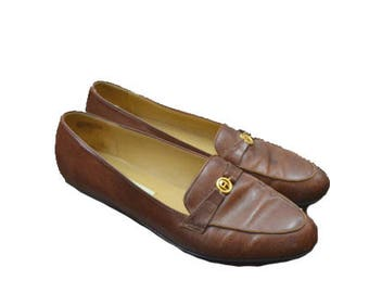 cc665062314 Vintage Loafer Shoes Brown Loafers Womens Loafers Brown Flats Brown Leather  Shoes