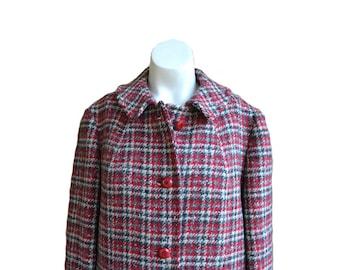 Vintage Plaid Red Coat Wool Coat Long Wool Coat Plaid Wool Coat Women's Wool Coat Size 14