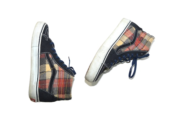 Vintage Plaid Vans Sneakers High Top Sneakers Skat