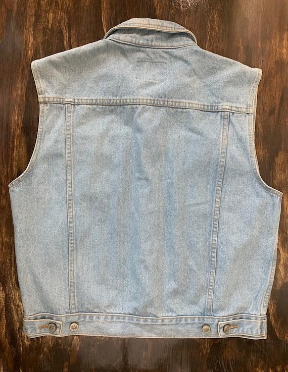 Vintage Denim Vest Light Blue Denim Vest Retro 80… - image 4
