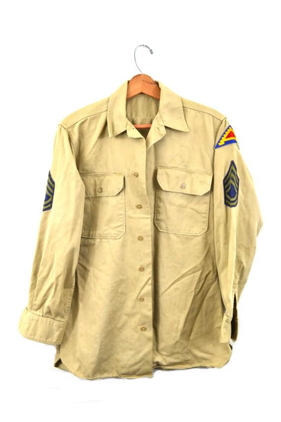 Vintage Army Shirt Khaki Army Shirt 7th Army Patc… - image 2