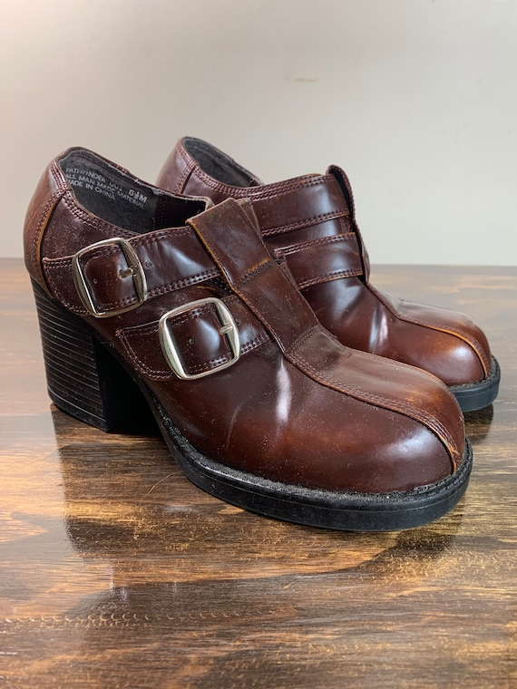 Vintage Brown Chunky Heel Shoes with Buckles Brown