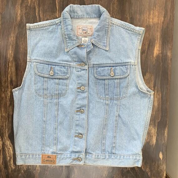 Vintage Denim Vest Light Blue Denim Vest Retro 80… - image 1