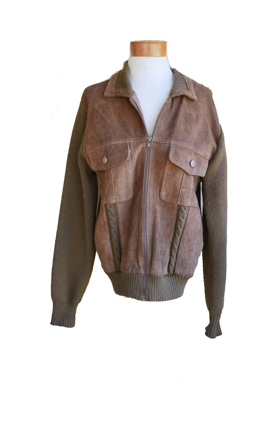 Vintage Brown Suede Cardigan Sweater Brown Cardiga