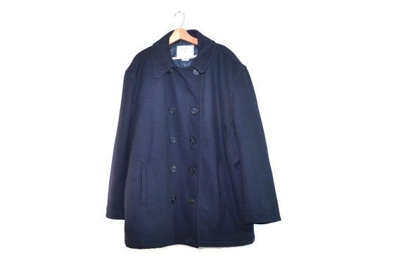 Vintage Minimal Black Wool Peacoat Men's Pea Coat