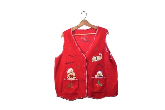 Christmas Cat Sweater.Ugly Christmas Sweater Vest Crazy Cat Lady Cat Mom Neko Christmas Cat Sweater Cat Vest Ugly Cat Christmas Vest
