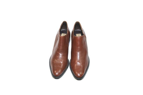 Vintage Brown Ankle Boots Leather Ankle Boots Bro… - image 4