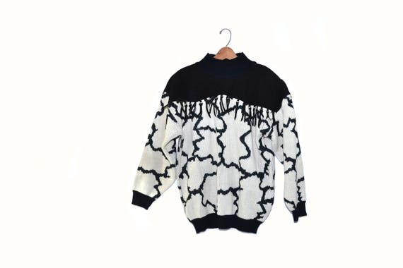 Vintage Southwestern Cow Print Sweater Black and W