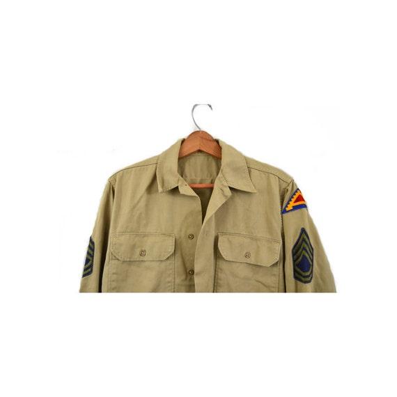 Vintage Army Shirt Khaki Army Shirt 7th Army Patc… - image 3
