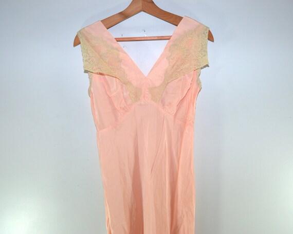 Antiquiertes Satin Kleid lange Nacht Kleid Pfirsich Nacht   Etsy