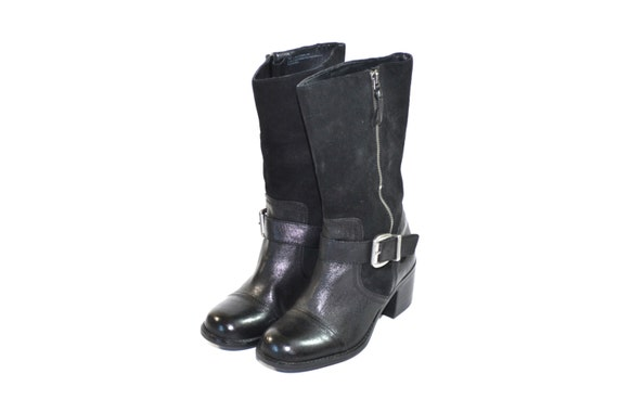 Vintage Black Harness Boots Black Riding Boots Lea