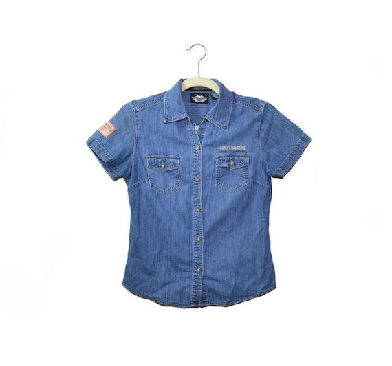Vintage Blue Denim Motorcycle Shirt Motorcycle Shi