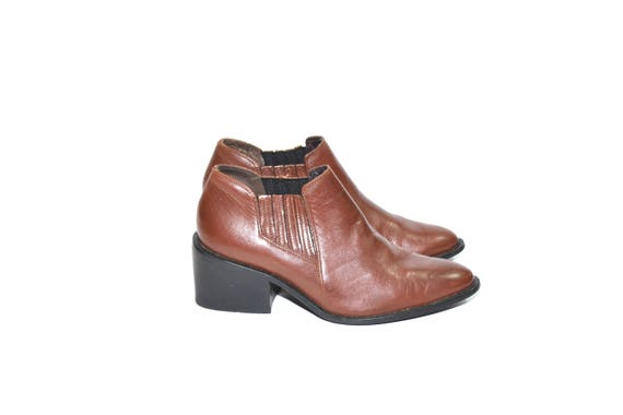 Vintage Brown Ankle Boots Leather Ankle Boots Bro… - image 3