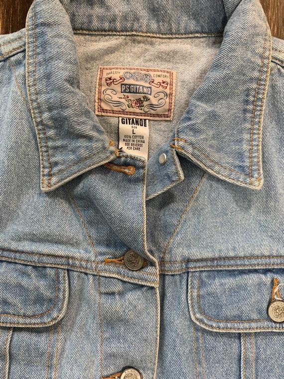 Vintage Denim Vest Light Blue Denim Vest Retro 80… - image 3