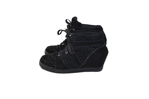 Vintage Black Suede Wedge Shoes Black
