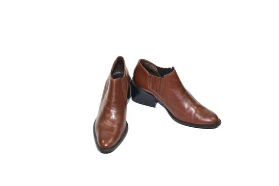 Vintage Brown Ankle Boots Leather Ankle Boots Bro… - image 5