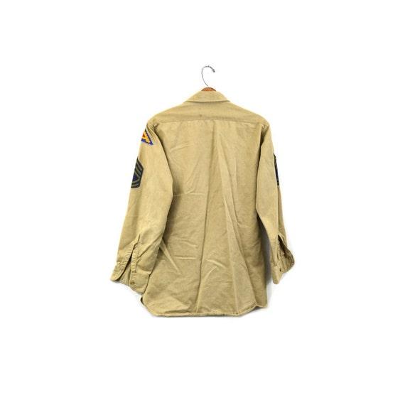 Vintage Army Shirt Khaki Army Shirt 7th Army Patc… - image 4