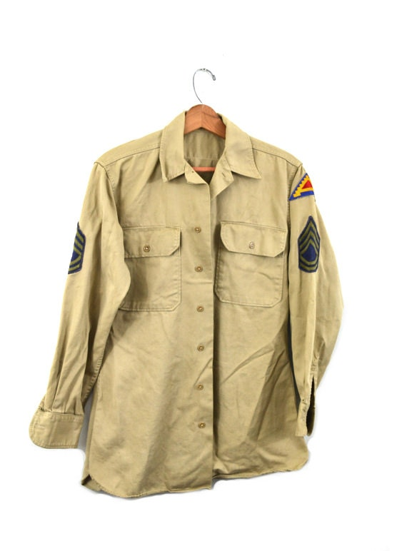 Vintage Army Shirt Khaki Army Shirt 7th Army Patch