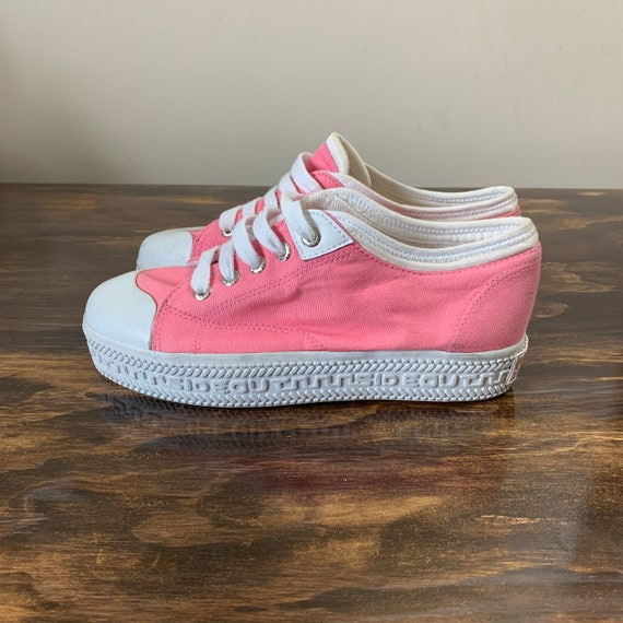 Vintage Platform Sneakers Pink Canvas Sneakers Y2K