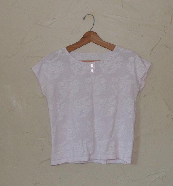 Vintage Sheer Lace Pink Shirt 80's Crop Top Shirt