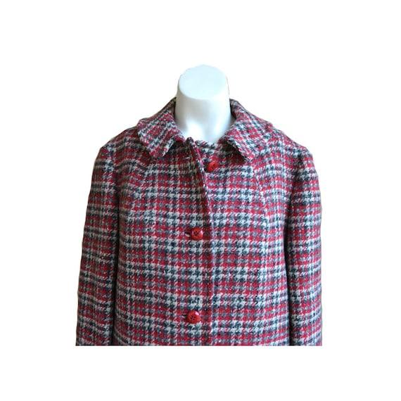 Vintage Plaid Red Coat Wool Coat Long Wool Coat Pl