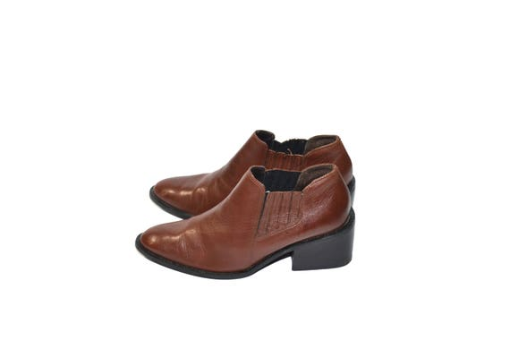 Vintage Brown Ankle Boots Leather Ankle Boots Bro… - image 1