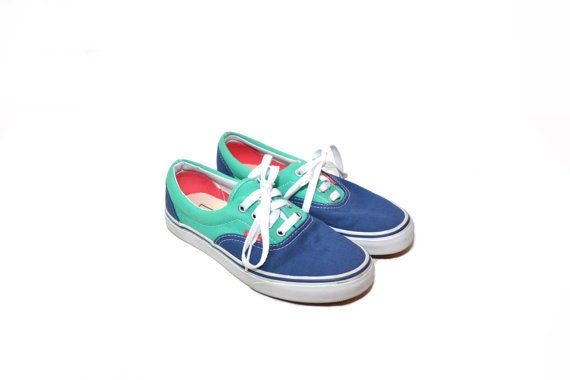 Vintage Blue Canvas Sneakers Color Block Sneakers