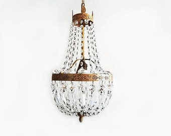 SALE Antique Italian Crystal Chandelier Empire Style Crystal and Brass Chandelier , Montgolfiere Crystal Venetian Chandelier