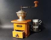 Antique Rare Large Coffee Grinder , German Coffee Grinder Java Mokka Coffee Mill Wood Coffee Grinder Coffee Shop Decor
