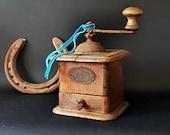 Decorative Antique Coffee Grinder, Rare Italian Coffee Grinder, Wood Coffee Mill Coffee Shop Decor, Farmhouse Decor Primitive Antiques