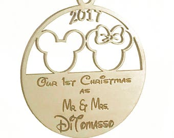 Personalized Disney Mickey Minnie Mouse Ornament, Disney Wedding, Christmas Ornament, Wedding Gift, Disney Christmas Ornament