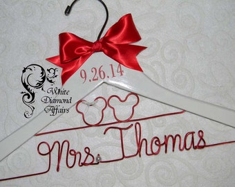 Mickey and Minnie Mouse Disney Themed Wedding Dress Hanger, Personalized Bridal Hanger, Personalized Bridal Gift - Rush delivery available