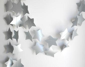 Silver Grey Star Garland, Wedding decoration, Silver party garland, Holiday garland,  New Year's decor