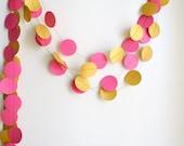 Gold Fuchsia wedding garland, Set of 2 garlands, Magenta Gold circle party paper garland, hot pink baby shower decor, nursery decor