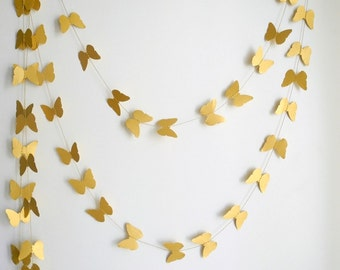 Gold Butterfly garland- shimmer Butterfly wedding decor, home decor,  kids room decor , nursery decoration  party decor