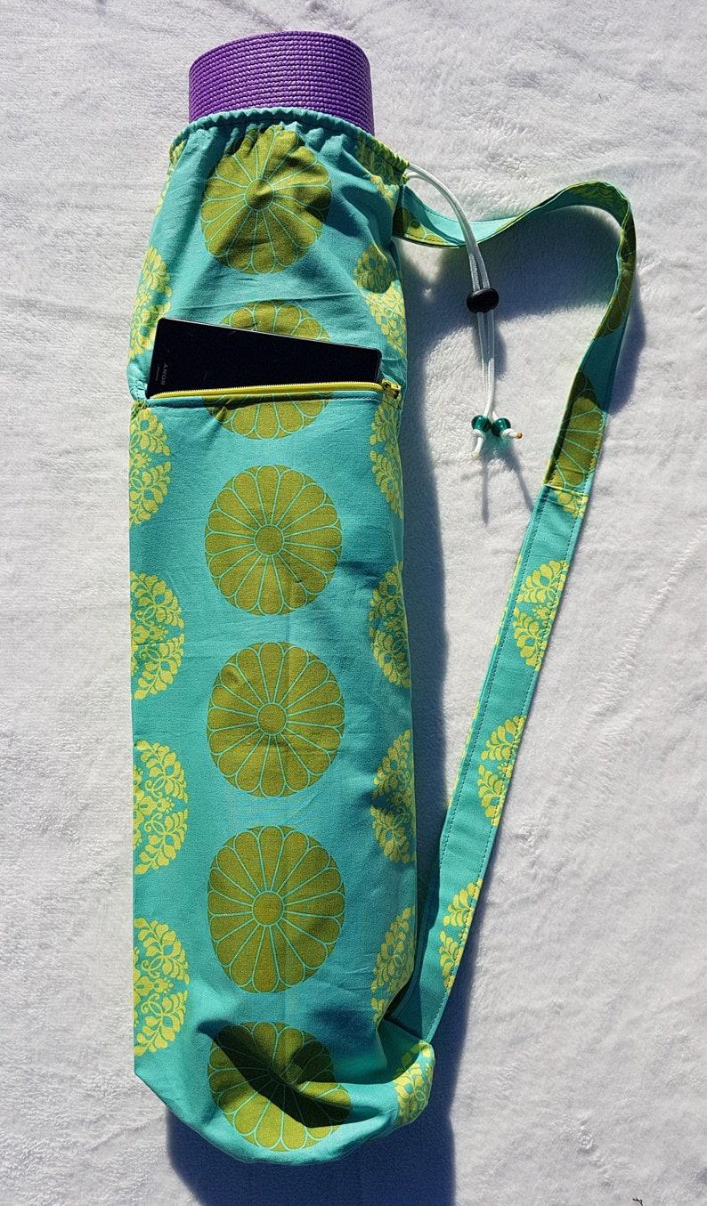 GreenAqua and Yellow Standard Yoga Mat Bag