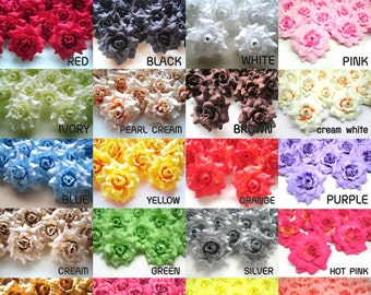 12 mini Silk Roses Heads Single Tone - Artificial Silk Flower - 1.75 inches - Wholesale Lot - for Wedding Work, Make Hair clips, headbands
