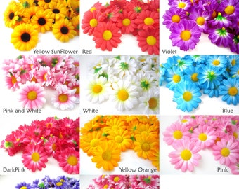 25 Gerbera Daisy Heads - Artificial Silk Flower - 1.75 inches - Wholesale Lot - for Bridal Wedding work, Make Hair clips, hats , card