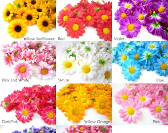 12 Gerbera Daisy Heads - Artificial Silk Flower - 1.75 inches - Wholesale Lot - for Bridal Wedding work, Make Hair clips, hats , card