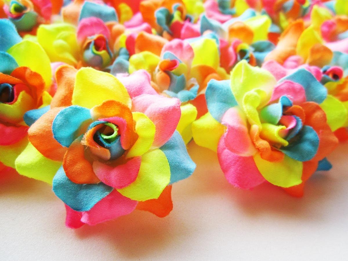 24 Neon Rainbow Mini Roses Heads Artificial Silk Flower Etsy