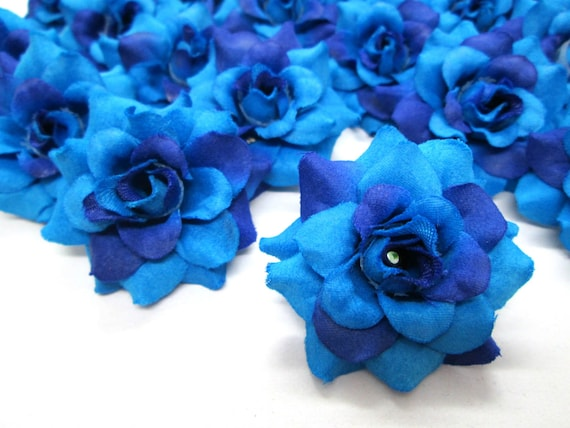 24 Blue Diamond mini Roses Heads headbands Make Hair clips for Wedding Work Artificial Silk Flower 1.75 inches Wholesale Lot