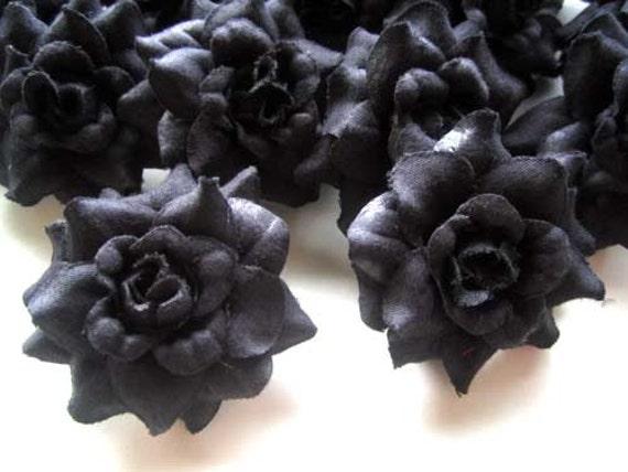 24 black mini roses heads artificial silk flower 175 etsy image 0 mightylinksfo