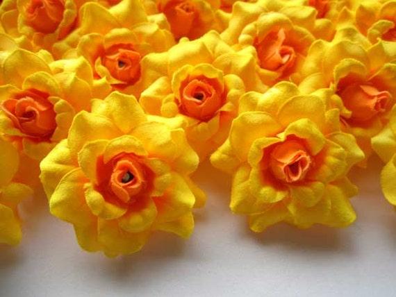 24 yellow mini roses heads artificial silk flower 175 etsy image 0 mightylinksfo