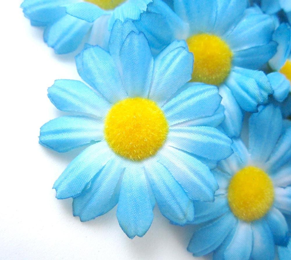 12 Blue Gerbera Daisy Heads Artificial Silk Flower 175 Etsy