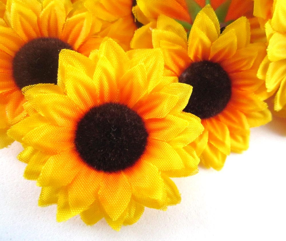 12 Yellow Sun Flower Head Artificial Silk Flower 15 Etsy